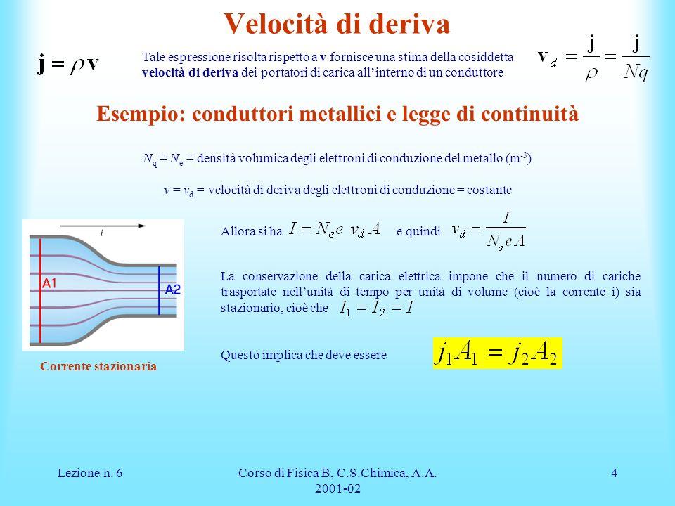 Esempio: conduttori metallici e legge di continuità