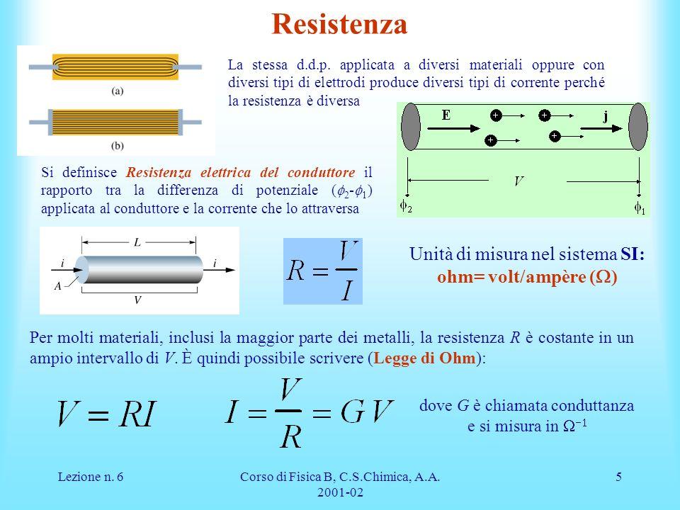 Resistenza Unità di misura nel sistema SI: ohm= volt/ampère (W)