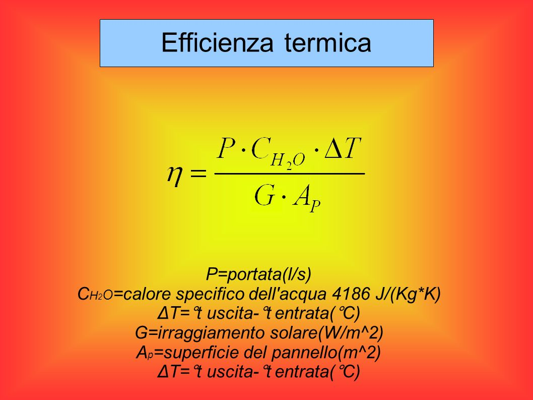 Efficienza termica P=portata(l/s)