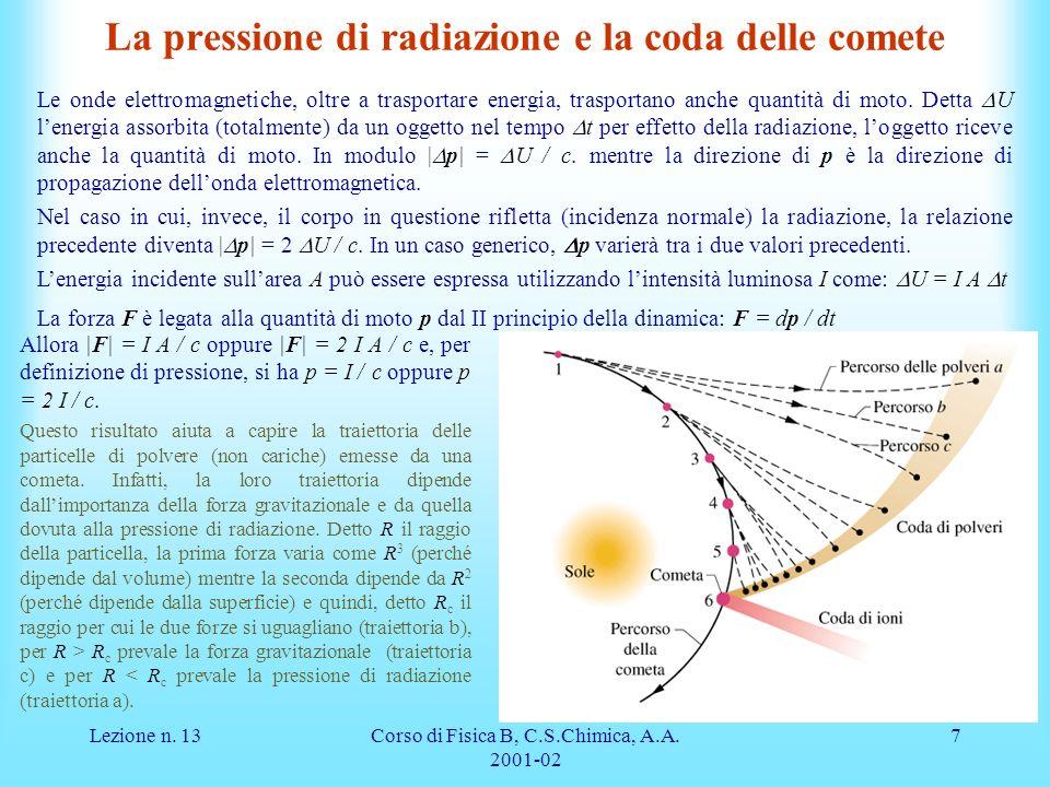 La pressione di radiazione e la coda delle comete