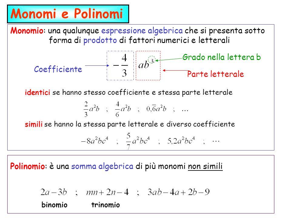 Monomi e Polinomi Monomio: una qualunque espressione algebrica che si presenta sotto forma di prodotto di fattori numerici e letterali.
