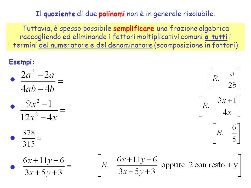 Il quoziente di due polinomi non è in generale risolubile.