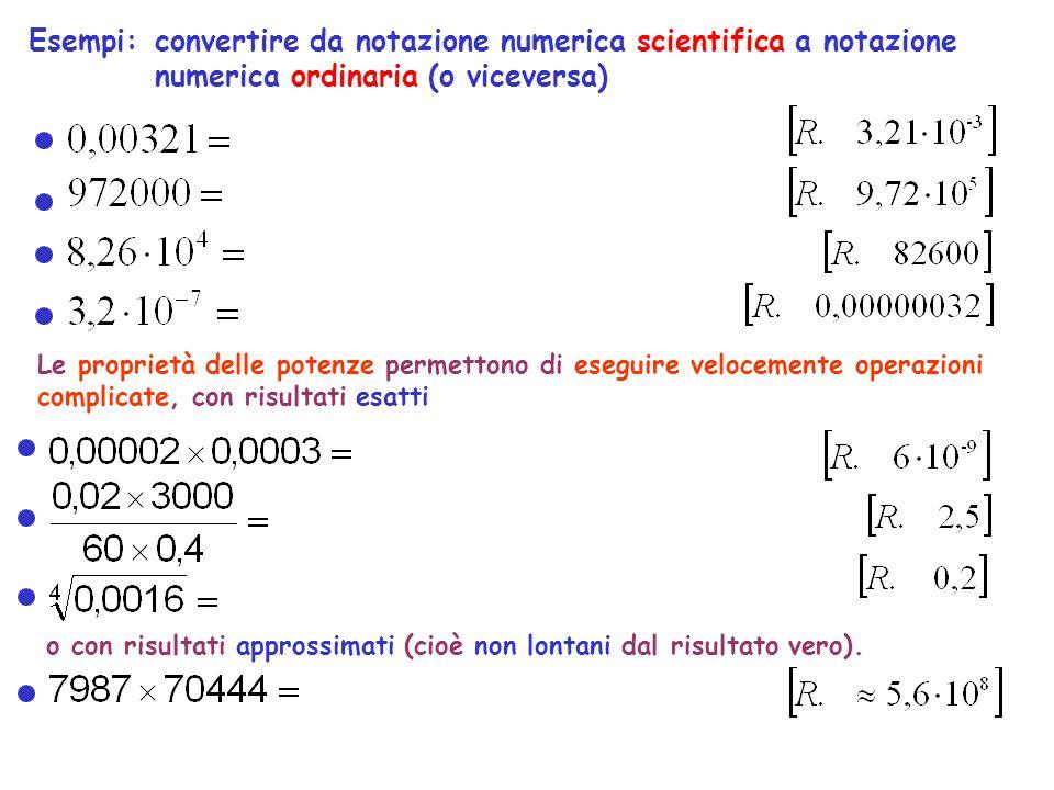 Esempi: convertire da notazione numerica scientifica a notazione numerica ordinaria (o viceversa)