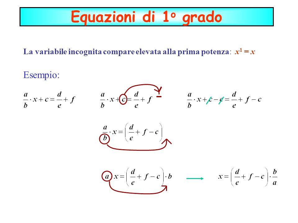 La variabile incognita compare elevata alla prima potenza: x1 = x