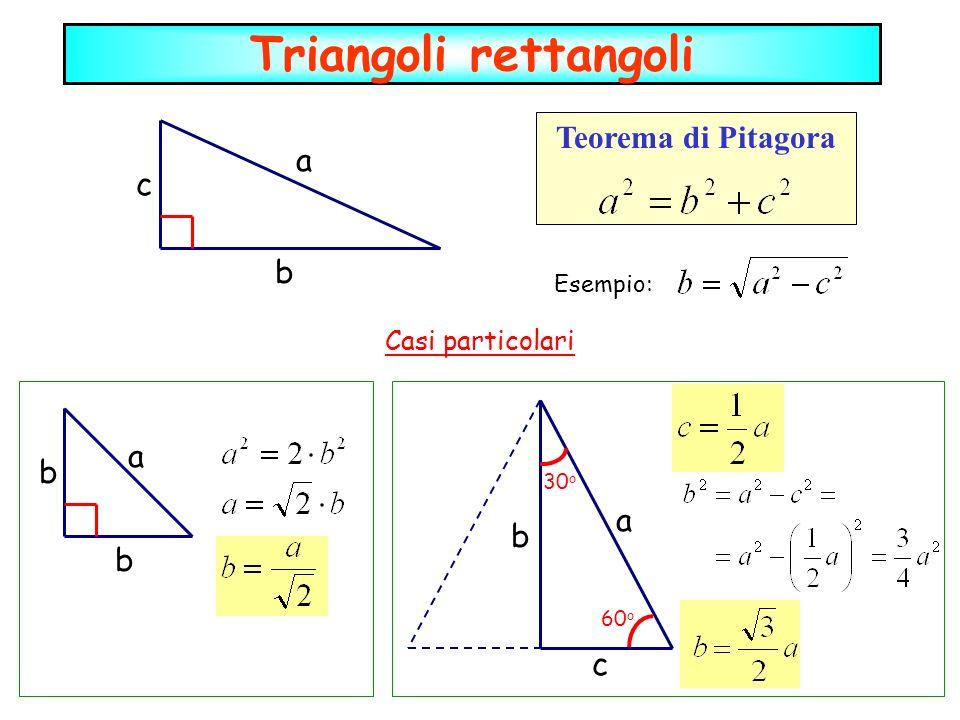 Triangoli rettangoli Teorema di Pitagora a c b a b a b b c