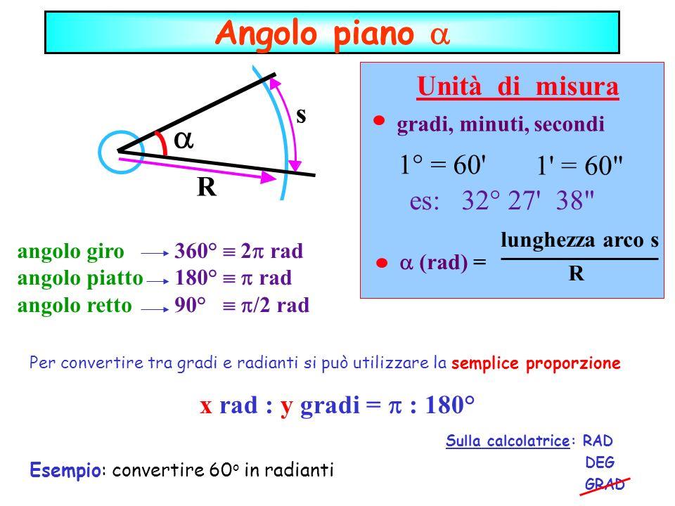Angolo piano  a Unità di misura s gradi, minuti, secondi 1° = 60