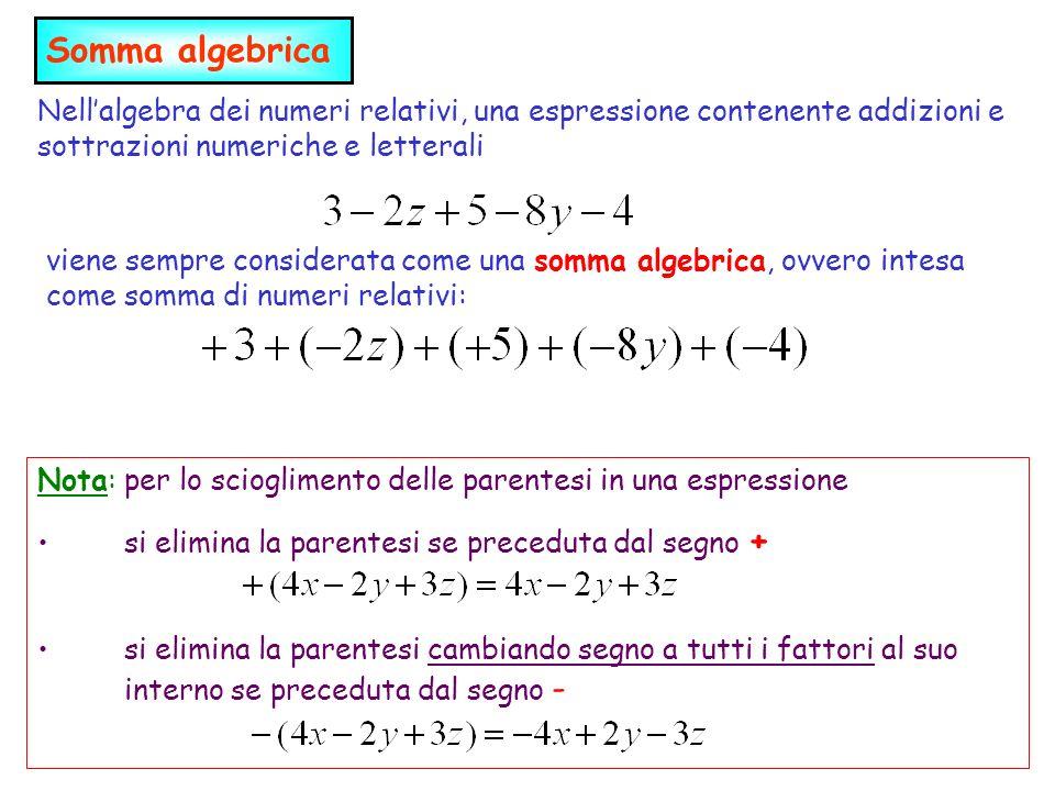 Somma algebricaNell'algebra dei numeri relativi, una espressione contenente addizioni e sottrazioni numeriche e letterali.