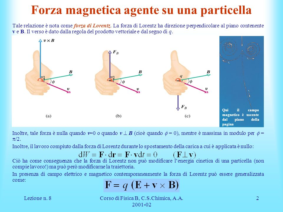 Forza magnetica agente su una particella