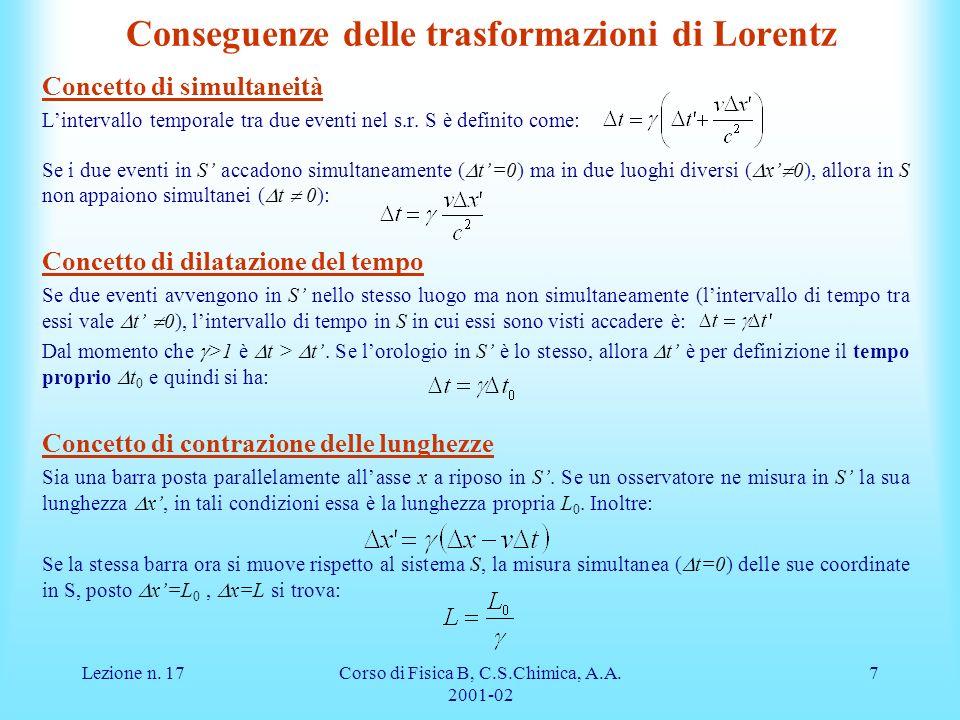 Conseguenze delle trasformazioni di Lorentz