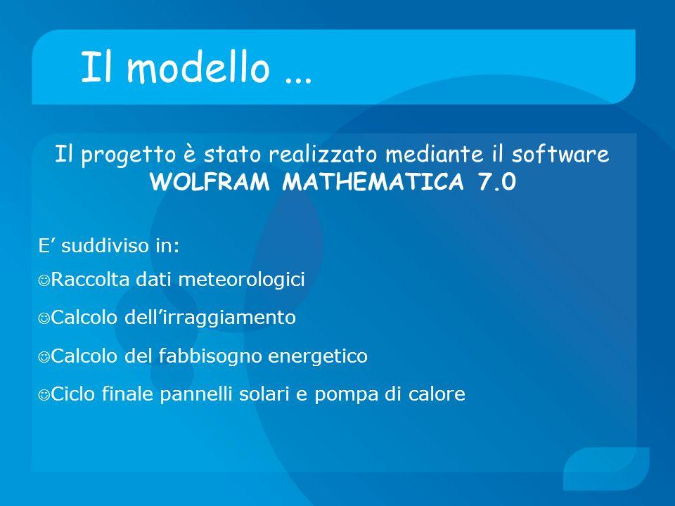 Il modello ... Il progetto è stato realizzato mediante il software WOLFRAM MATHEMATICA 7.0. E' suddiviso in:
