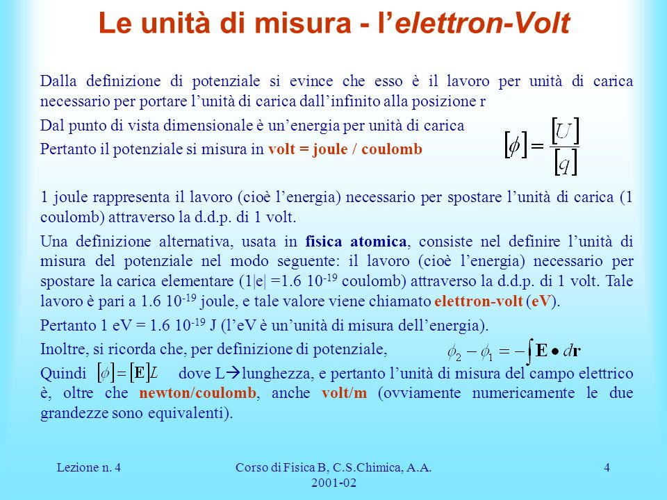 Le unità di misura - l'elettron-Volt