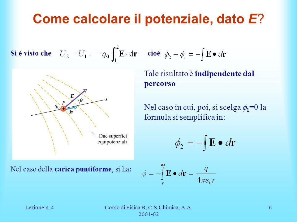 Come calcolare il potenziale, dato E