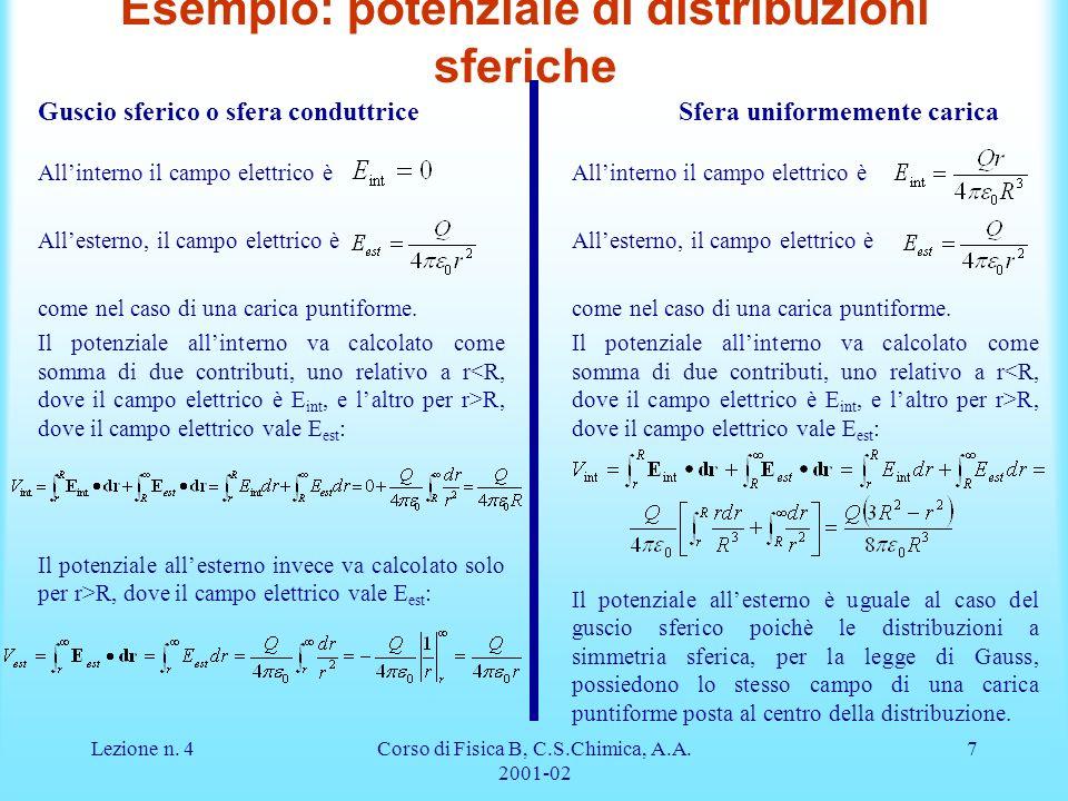 Esempio: potenziale di distribuzioni sferiche