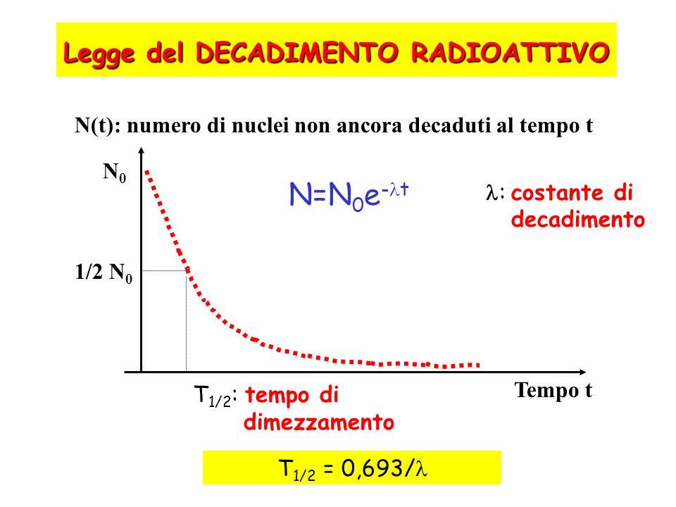 N=N0e-t Legge del DECADIMENTO RADIOATTIVO