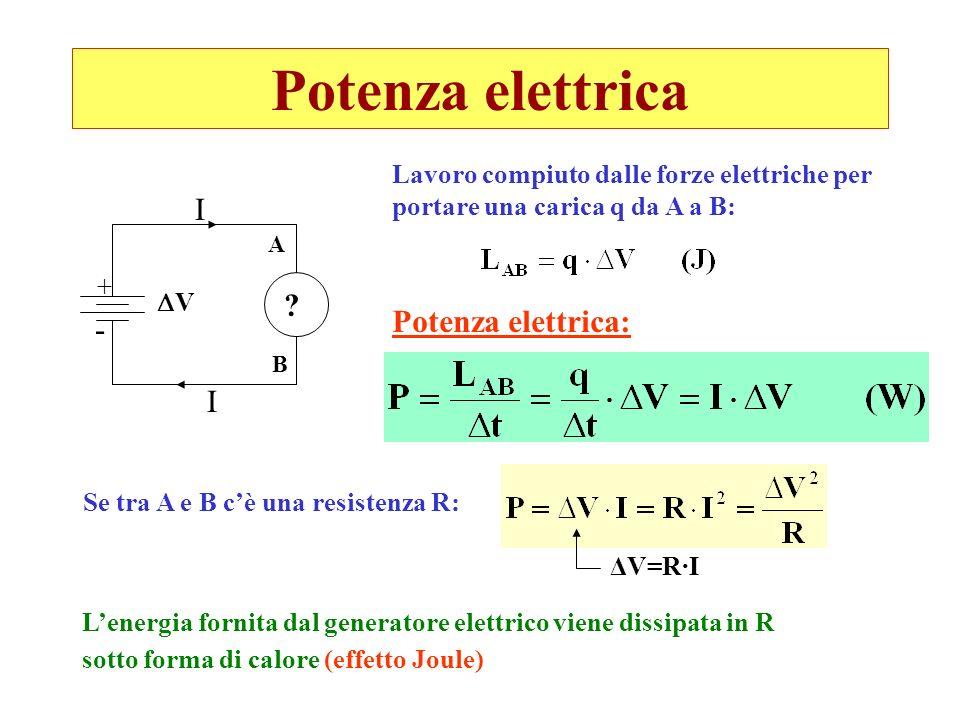 Potenza elettrica I Potenza elettrica: - I