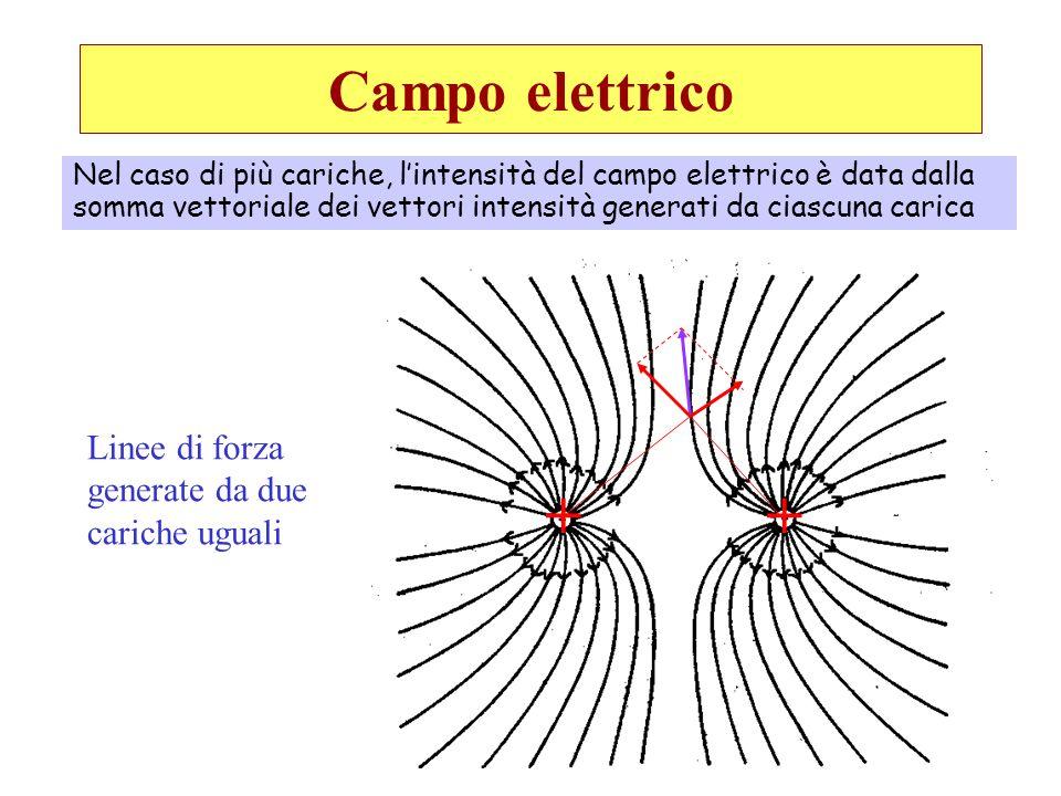 + + Campo elettrico Linee di forza generate da due cariche uguali