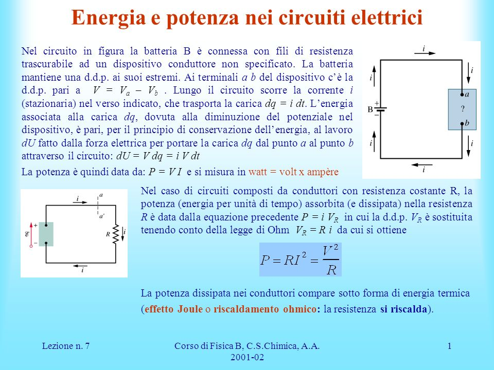 Energia e potenza nei circuiti elettrici