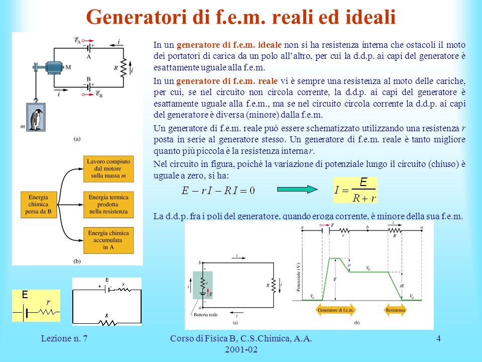 Generatori di f.e.m. reali ed ideali