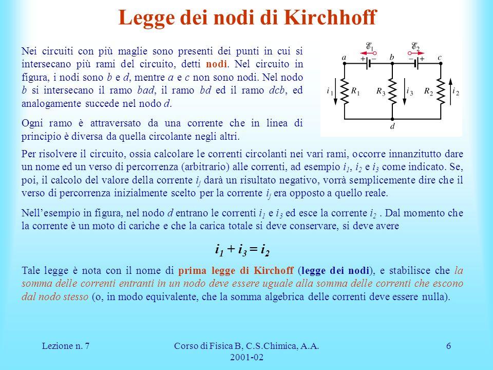 Legge dei nodi di Kirchhoff