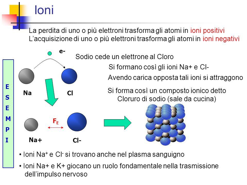Ioni La perdita di uno o più elettroni trasforma gli atomi in ioni positivi.