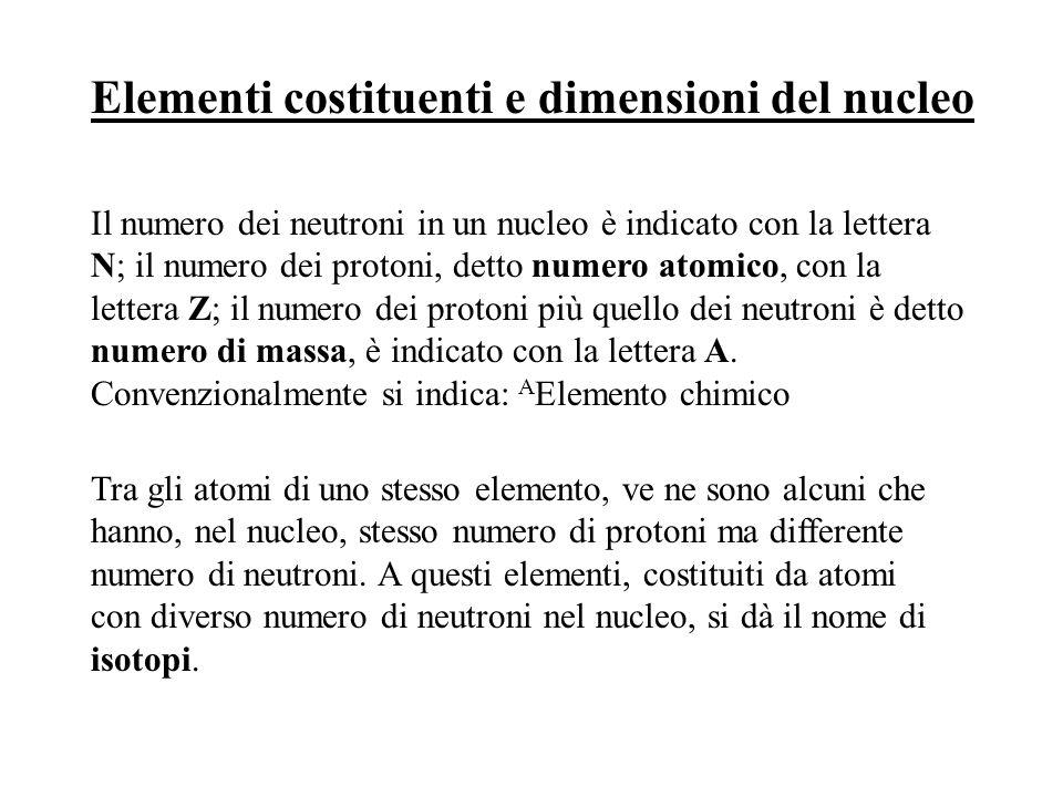 Elementi costituenti e dimensioni del nucleo