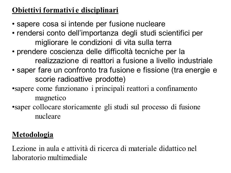 Obiettivi formativi e disciplinari