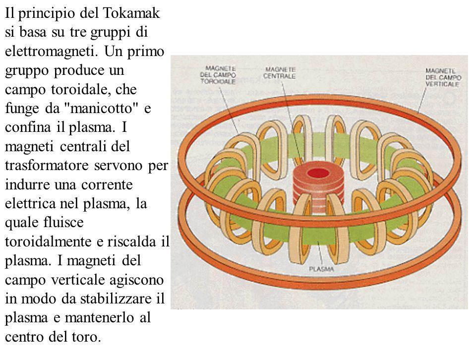 Il principio del Tokamak si basa su tre gruppi di elettromagneti