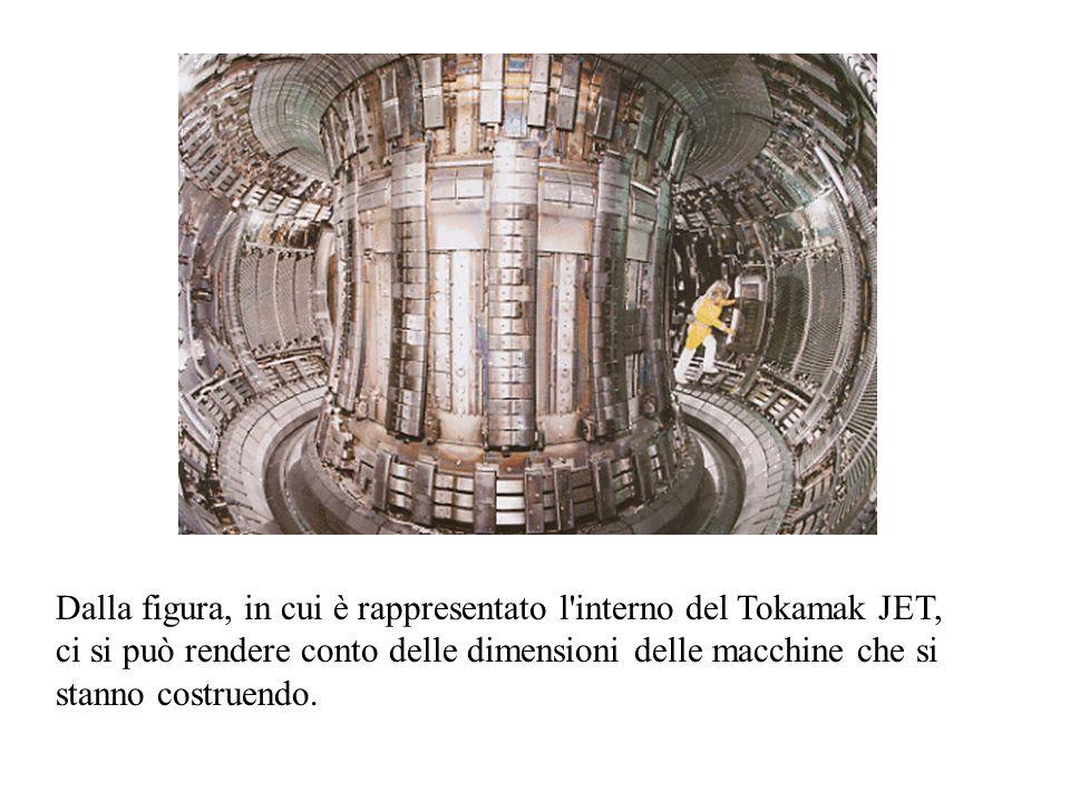 Dalla figura, in cui è rappresentato l interno del Tokamak JET, ci si può rendere conto delle dimensioni delle macchine che si stanno costruendo.