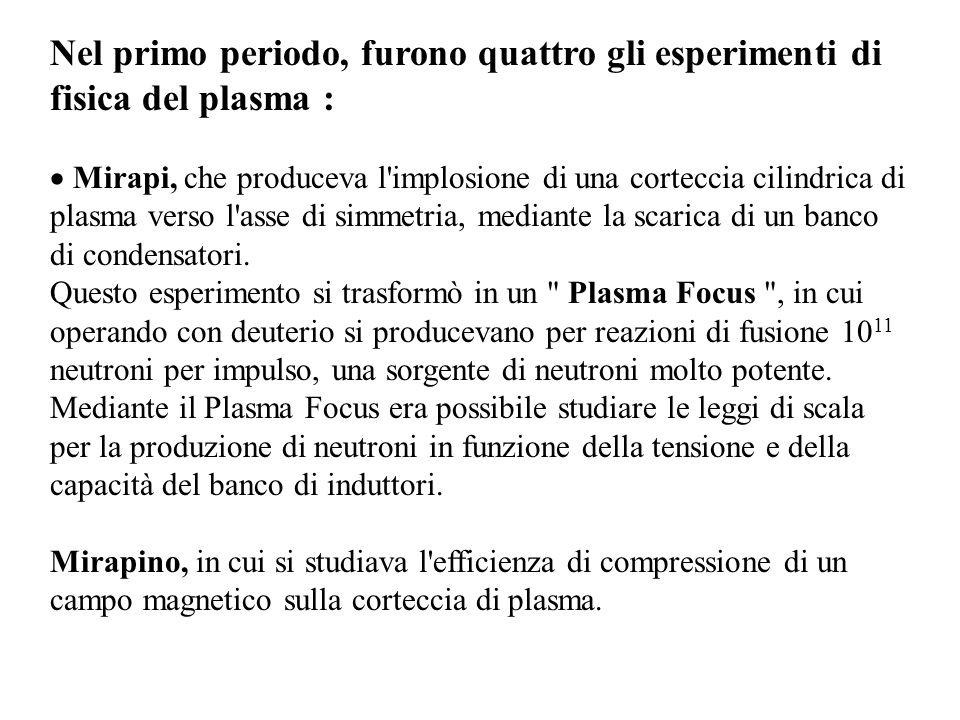 Nel primo periodo, furono quattro gli esperimenti di fisica del plasma :