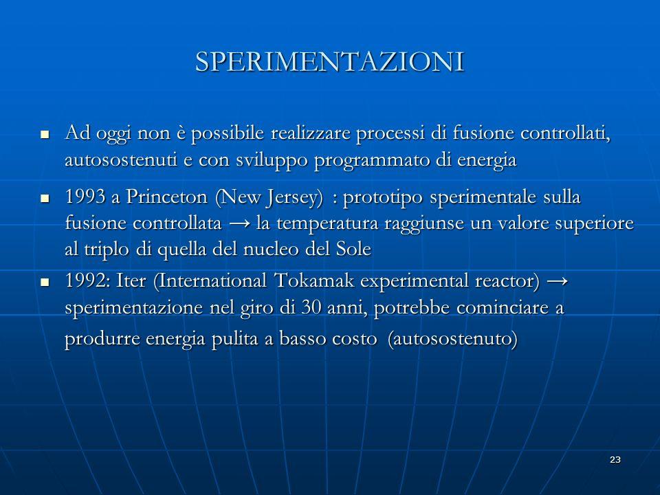 SPERIMENTAZIONI Ad oggi non è possibile realizzare processi di fusione controllati, autosostenuti e con sviluppo programmato di energia.