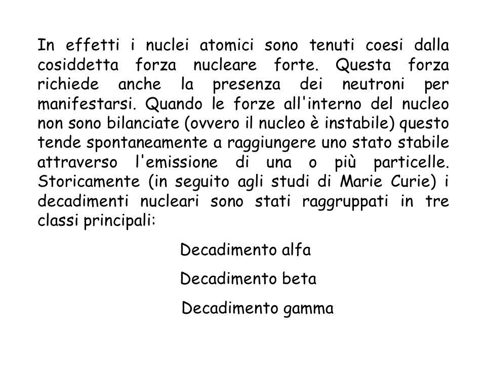 In effetti i nuclei atomici sono tenuti coesi dalla cosiddetta forza nucleare forte. Questa forza richiede anche la presenza dei neutroni per manifestarsi. Quando le forze all interno del nucleo non sono bilanciate (ovvero il nucleo è instabile) questo tende spontaneamente a raggiungere uno stato stabile attraverso l emissione di una o più particelle. Storicamente (in seguito agli studi di Marie Curie) i decadimenti nucleari sono stati raggruppati in tre classi principali: