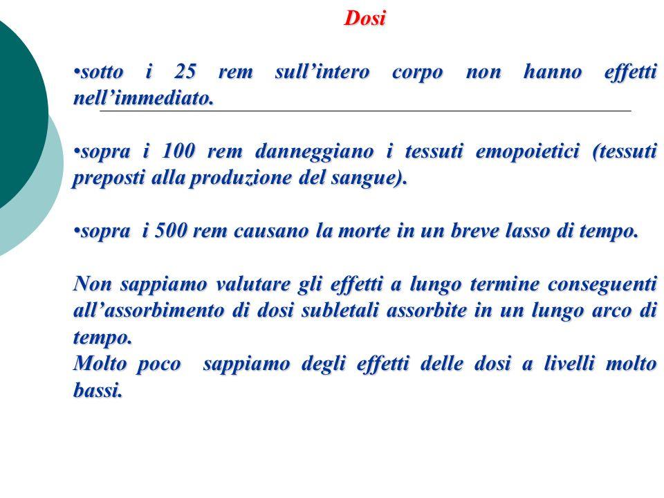 Dosisotto i 25 rem sull'intero corpo non hanno effetti nell'immediato.