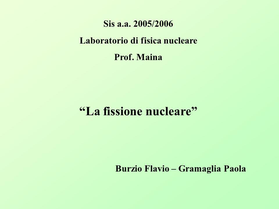 Laboratorio di fisica nucleare La fissione nucleare