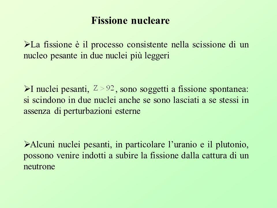 Fissione nucleare La fissione è il processo consistente nella scissione di un nucleo pesante in due nuclei più leggeri.