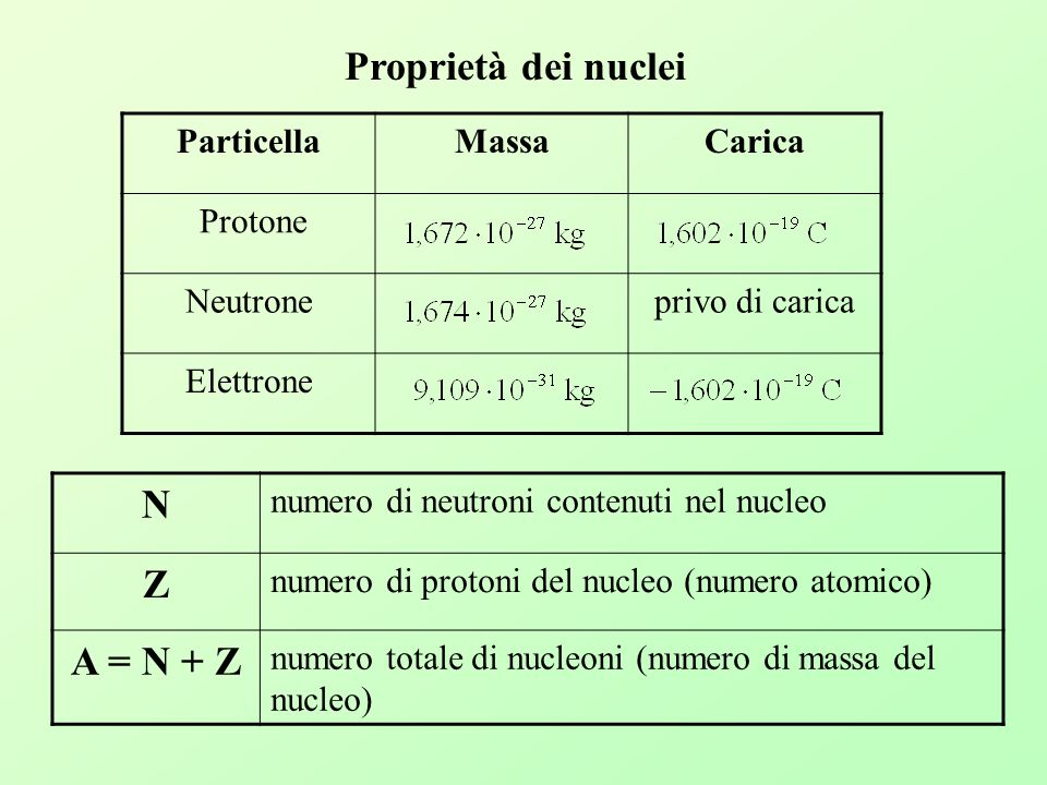 Proprietà dei nuclei N Z A = N + Z