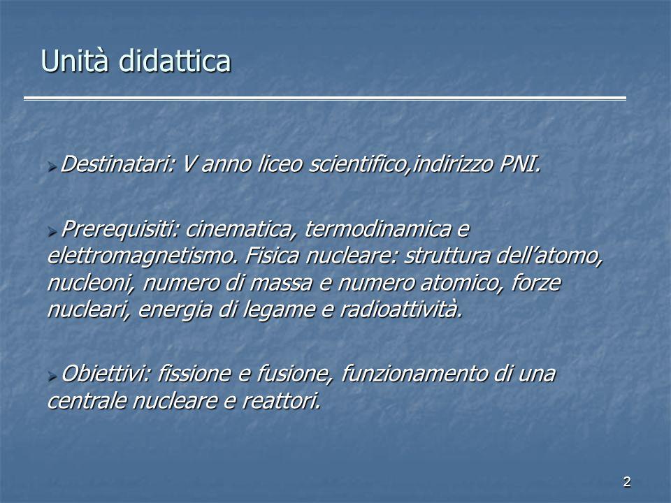 Unità didattica Destinatari: V anno liceo scientifico,indirizzo PNI.