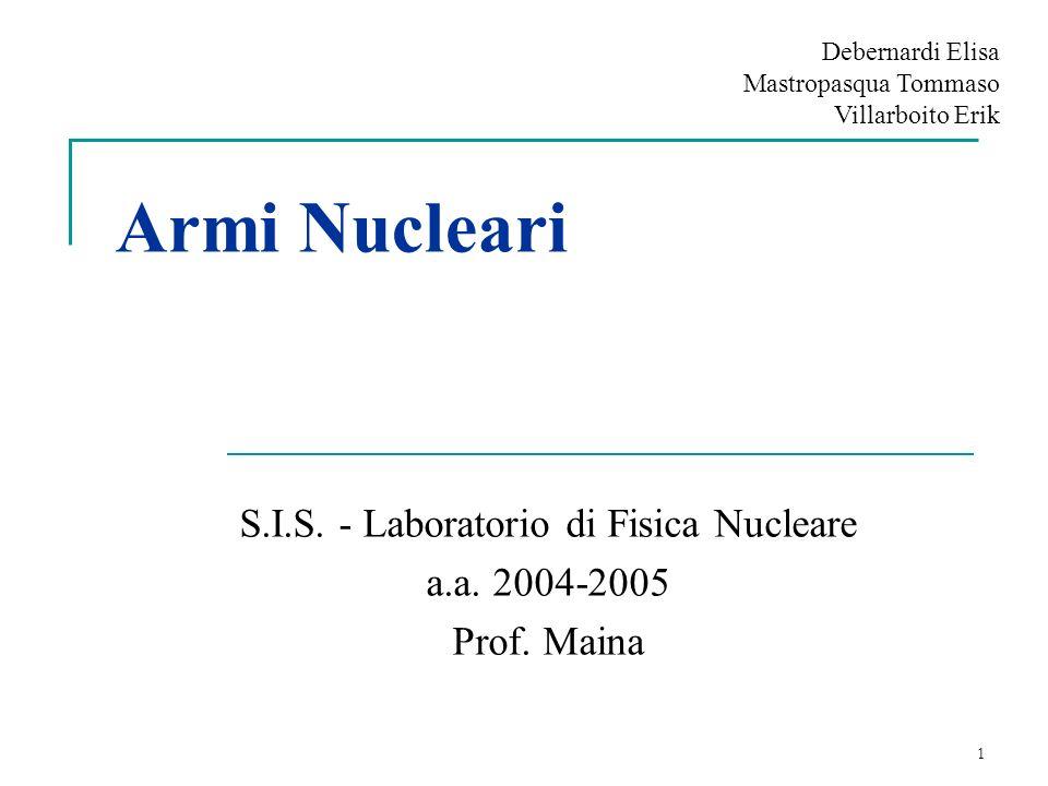 S.I.S. - Laboratorio di Fisica Nucleare a.a. 2004-2005 Prof. Maina