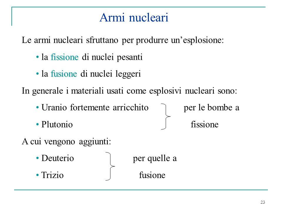 Armi nucleari Le armi nucleari sfruttano per produrre un'esplosione: