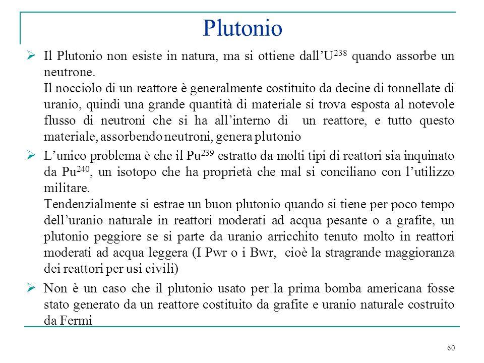 Plutonio Il Plutonio non esiste in natura, ma si ottiene dall'U238 quando assorbe un neutrone.