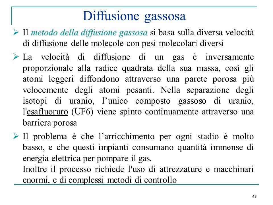 Diffusione gassosa Il metodo della diffusione gassosa si basa sulla diversa velocità di diffusione delle molecole con pesi molecolari diversi.