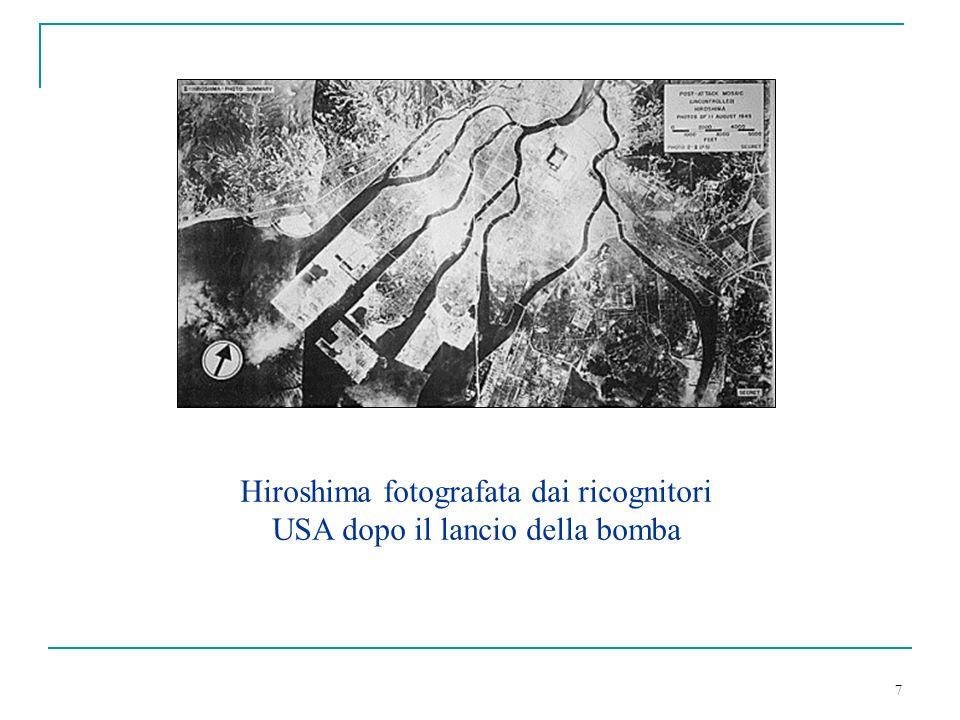 Hiroshima fotografata dai ricognitori USA dopo il lancio della bomba