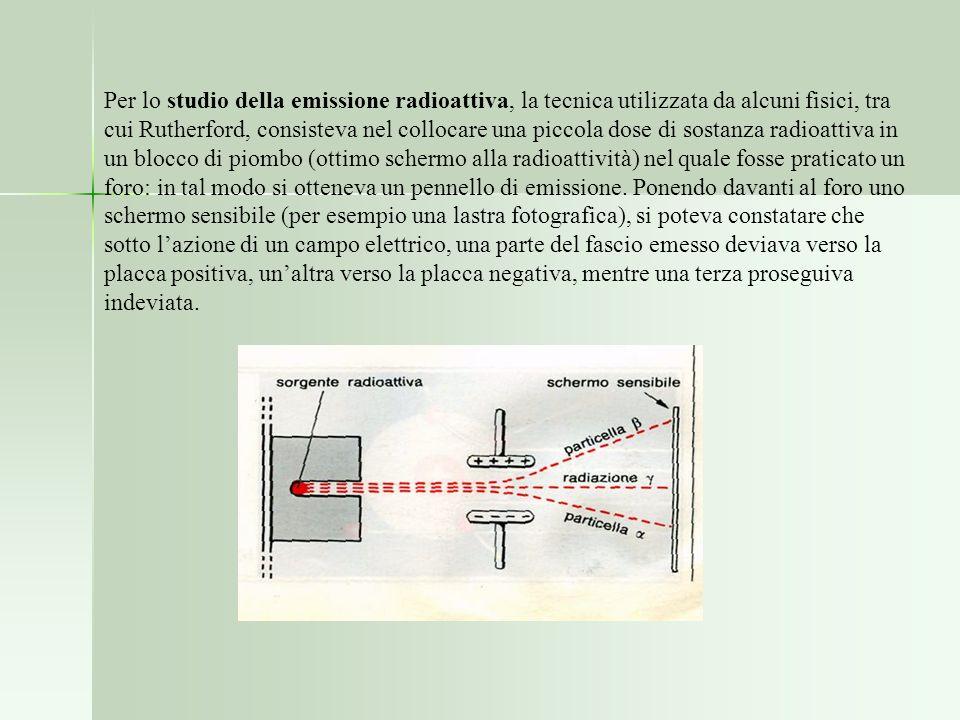 Per lo studio della emissione radioattiva, la tecnica utilizzata da alcuni fisici, tra cui Rutherford, consisteva nel collocare una piccola dose di sostanza radioattiva in un blocco di piombo (ottimo schermo alla radioattività) nel quale fosse praticato un foro: in tal modo si otteneva un pennello di emissione.