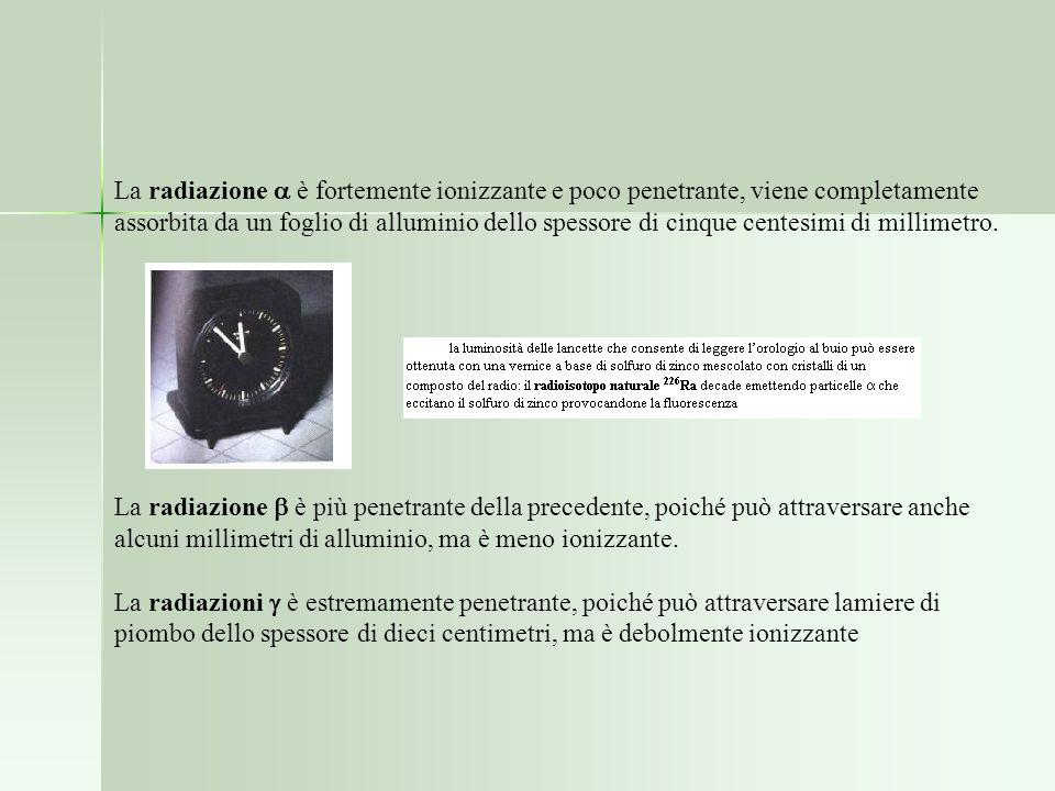 La radiazione  è fortemente ionizzante e poco penetrante, viene completamente assorbita da un foglio di alluminio dello spessore di cinque centesimi di millimetro.