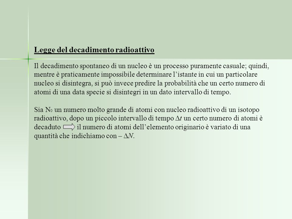 Legge del decadimento radioattivo