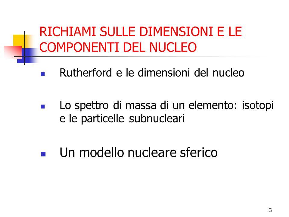 RICHIAMI SULLE DIMENSIONI E LE COMPONENTI DEL NUCLEO