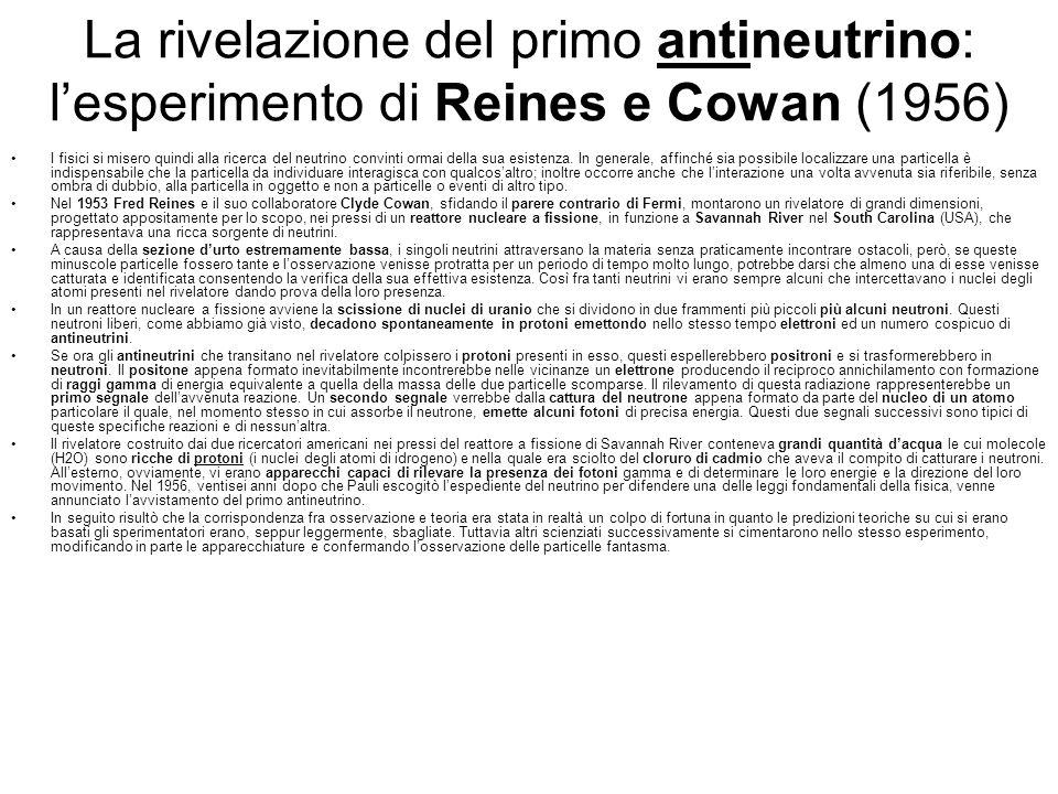 La rivelazione del primo antineutrino: l'esperimento di Reines e Cowan (1956)