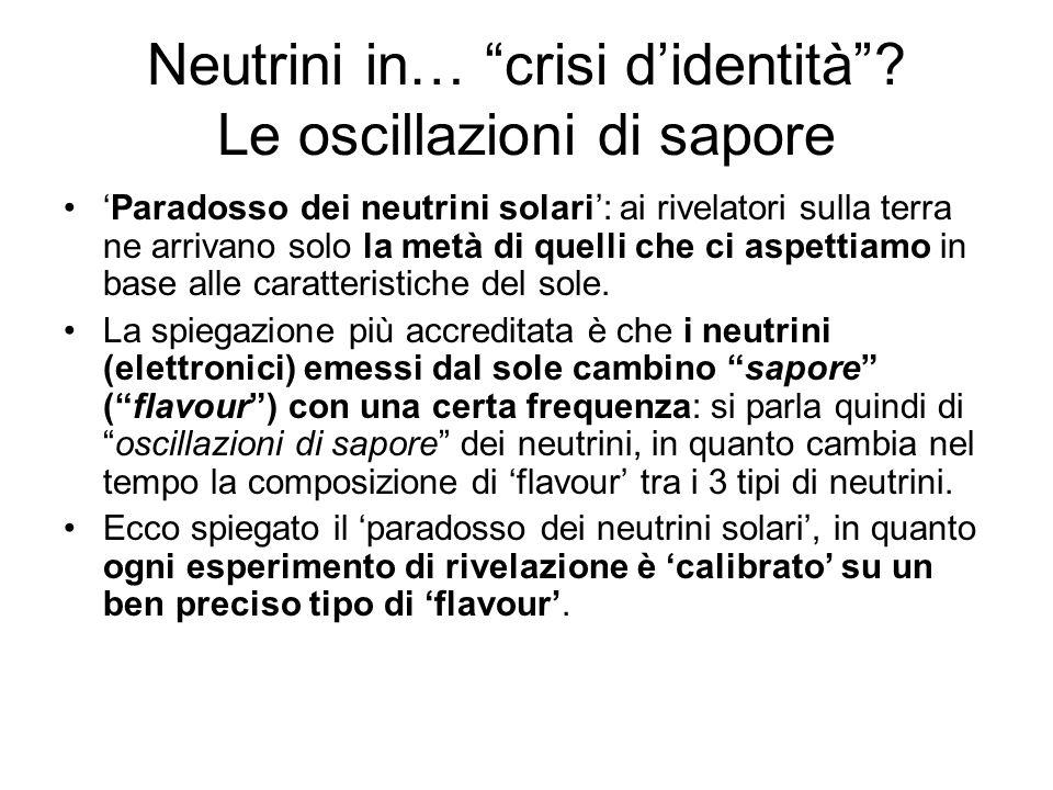 Neutrini in… crisi d'identità Le oscillazioni di sapore