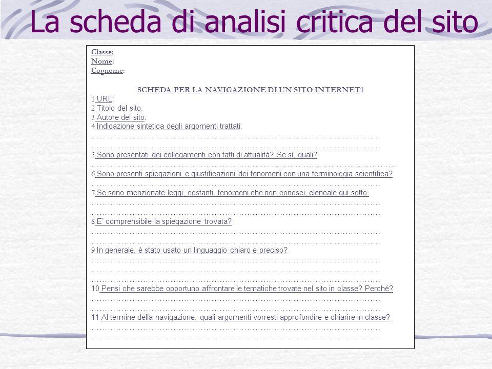 La scheda di analisi critica del sito