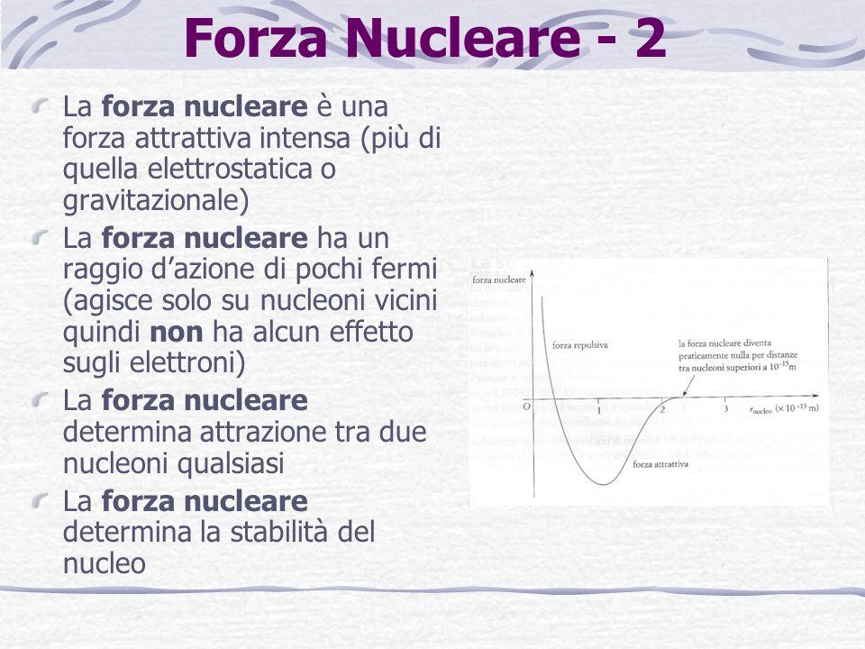 Forza Nucleare - 2 La forza nucleare è una forza attrattiva intensa (più di quella elettrostatica o gravitazionale)