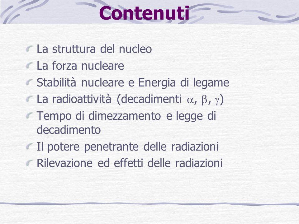Contenuti La struttura del nucleo La forza nucleare